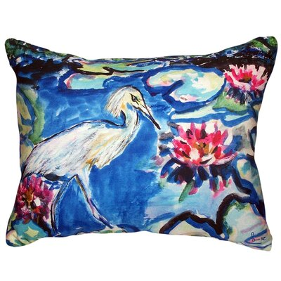 Heron and Waterlilies Indoor/Outdoor Lumbar Pillow