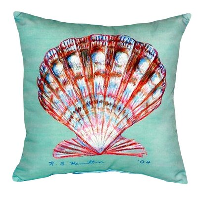 Scallop Shell Indoor/Outdoor Throw Pillow Color: Teal