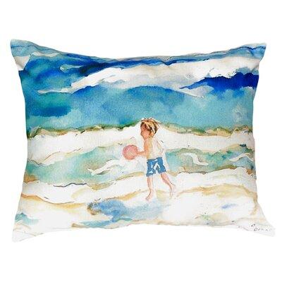 Boy and Ball Indoor/Outdoor Lumbar Pillow