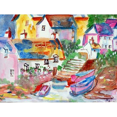 Boats At Steps Doormat Mat Size: Rectangle 16 x 22