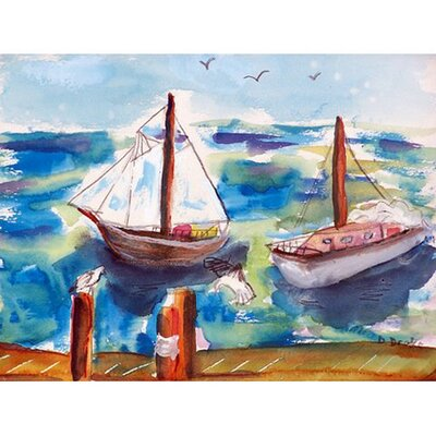 Two Sailboats Doormat Rug Size: Rectangle 26 x 42