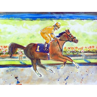 Racing Horse Doormat Mat Size: Rectangle 26 x 42