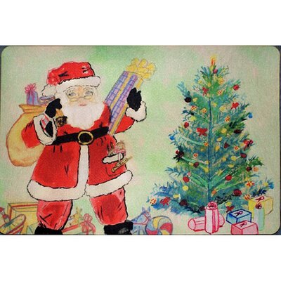 Santa and Christmas Tree Doormat Mat Size: Rectangle 16 x 22