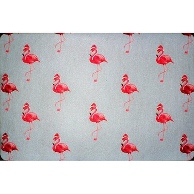 Flamingo Santa Doormat Rug Size: 26 x 42
