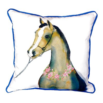 Horse and Garland Indoor/Outdoor Throw Pillow Size: Large