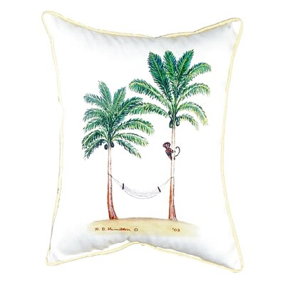 Palm Trees and Monkey Indoor/Outdoor Lumbar Pillow Size: Small