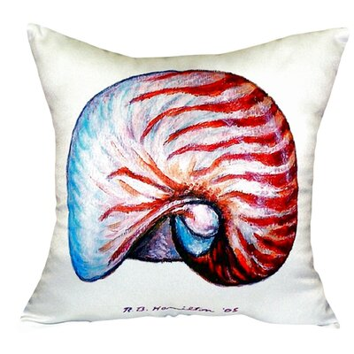 Nautilus Shell Indoor/Outdoor Throw Pillow Color: White