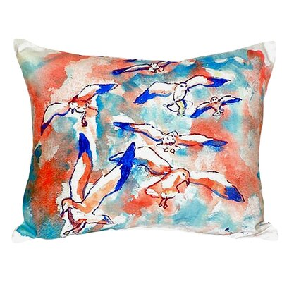 Gulls Flocking Indoor/Outdoor Lumbar Pillow