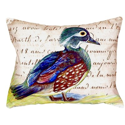 Female Wood Duck Script Indoor/Outdoor Lumbar Pillow