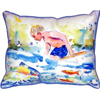 Boy and Fish Indoor/Outdoor Throw Pillow Size: Small