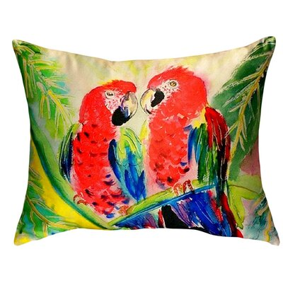 Two Parrots Indoor/Outdoor Lumbar Pillow