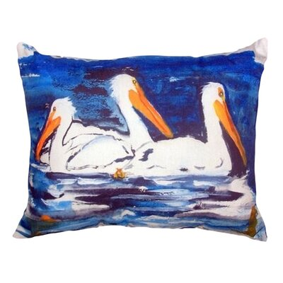 Three Pelicans Indoor/Outdoor Lumbar Pillow