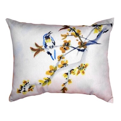 Bird and Forsythia Indoor/Outdoor Lumbar Pillow