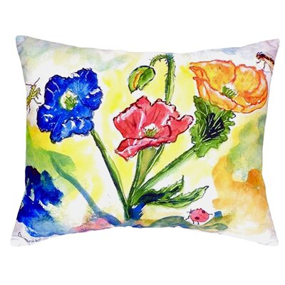Bugs and Poppies Indoor/Outdoor Lumbar Pillow