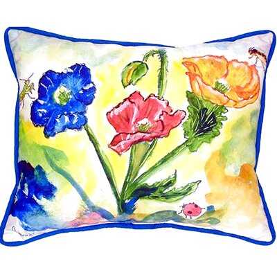 Bugs and Poppies Indoor/Outdoor Lumbar Pillow Size: Small