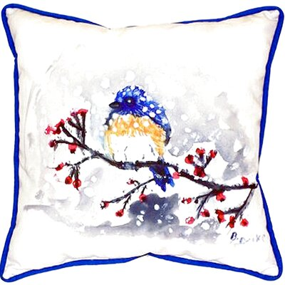 Bird and Snow Indoor/Outdoor Throw Pillow Size: Small