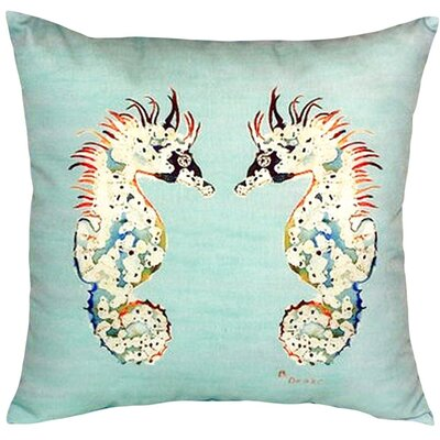 Seahorses Indoor/Outdoor Throw Pillow Color: Teal