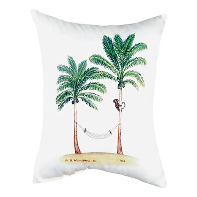 Palm Trees and Monkey Indoor/Outdoor Lumbar Pillow