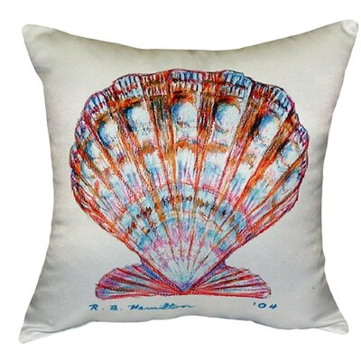 Scallop Shell Indoor/Outdoor Throw Pillow Color: White