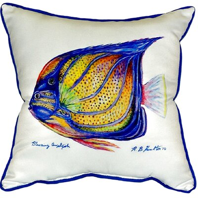 Ring Angelfish Indoor/Outdoor Throw Pillow Color: White
