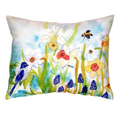 Bird and Daffodils Indoor/Outdoor Throw Pillow