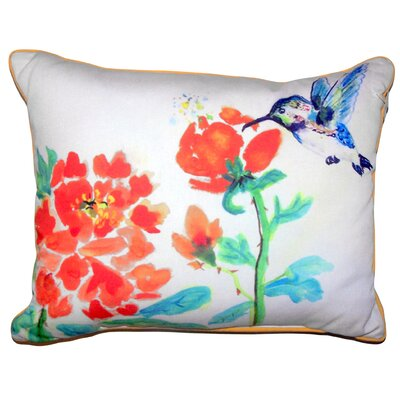Normandin Hummingbird and Flower Indoor/Outdoor Lumbar Pillow Size: 11 x 14