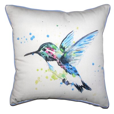 Delphine Hummingbird Indoor/Outdoor Throw Pillow Size: 18 x 18