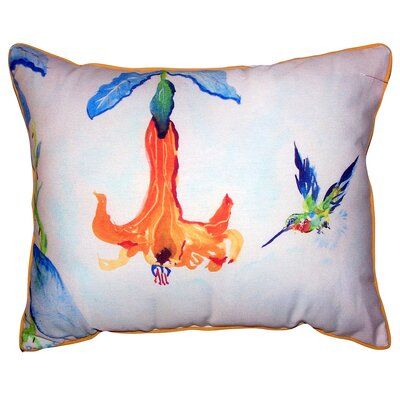 Bernadine Hummingbird and Trumpet Vine Indoor/Outdoor Lumbar Pillow Size: 20 x 24