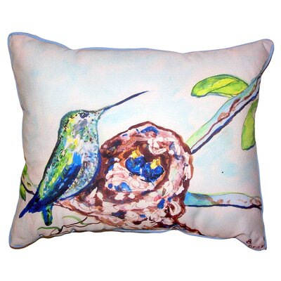 Bridget Hummingbird and Chicks Indoor/Outdoor Lumbar Pillow Size: 16 x 20