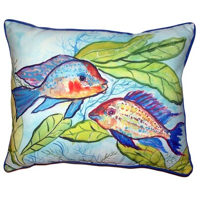 Leilla Pair of Fish Indoor/Outdoor Lumbar Pillow Size: 11 x 14