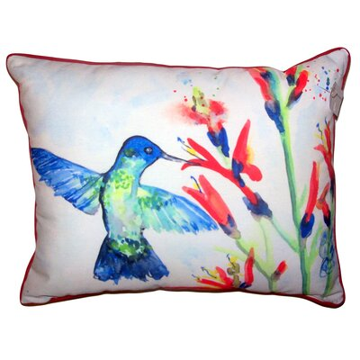 Briana Hummingbird and Fire Plant Indoor/Outdoor Lumbar Pillow Size: 11 x 14