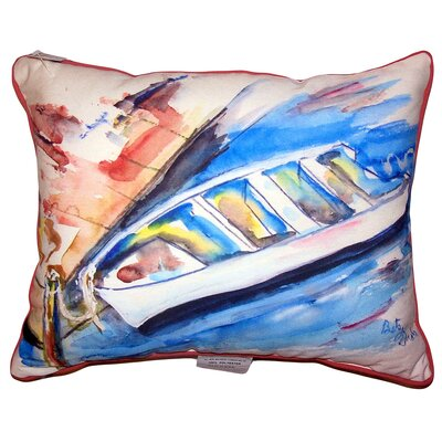 Christin Rowboat at Dock Indoor/Outdoor Lumbar Pillow Size: 11 x 14