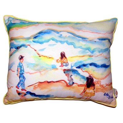 Windy Playing at the Beach Indoor/Outdoor Lumbar Pillow Size: 20 x 24