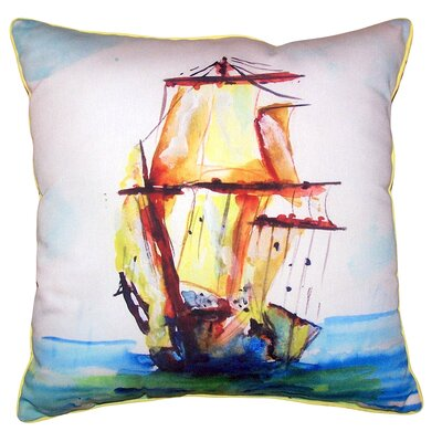 Caledonia Tall Ship Indoor/Outdoor Throw Pillow Size: 12 x 12