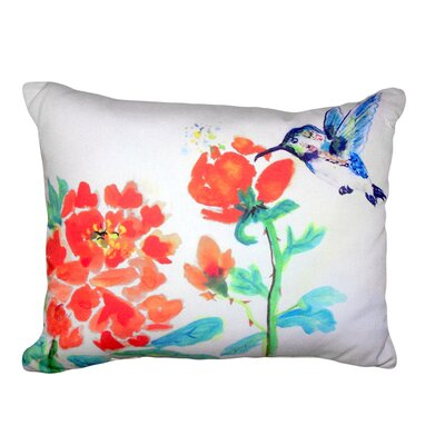 Albane Hummingbird and Flower No Cord Outdoor Lumbar Pillow