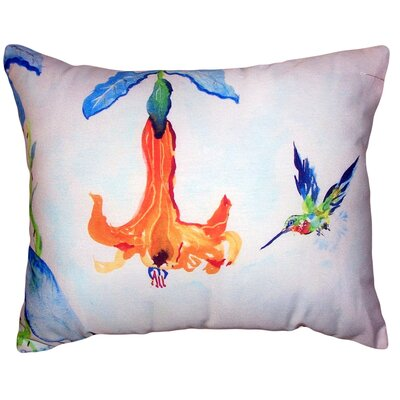 Alois Hummingbird and Trumpet Vine No Cord Outdoor Lumbar Pillow