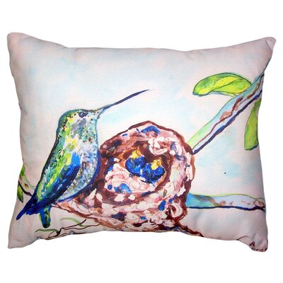 Alycia Hummingbird and Chicks No Cord Outdoor Lumbar Pillow