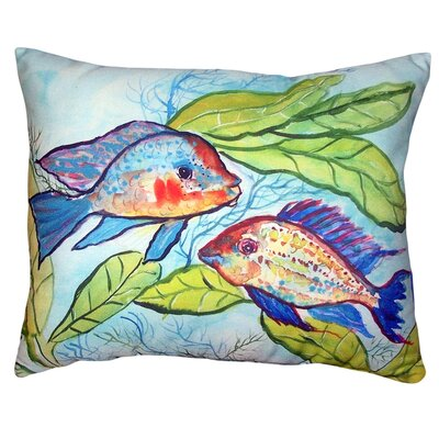 Abou Pair of Fish No Cord Outdoor Lumbar Pillow