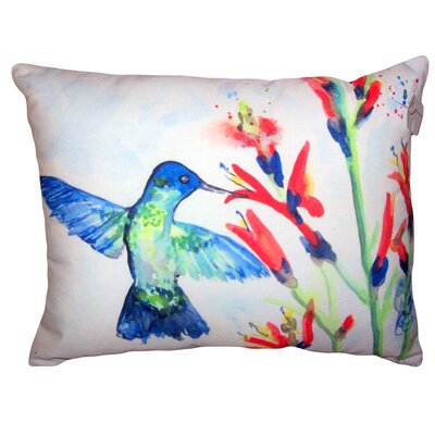 Alyssia Hummingbird and Fire Plant No Cord Outdoor Lumbar Pillow