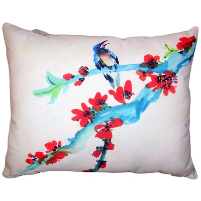 Amaranthe Buds and Bird No Cord Outdoor Lumbar Pillow