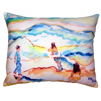 Diaundra Playing at the Beach No Cord Outdoor Lumbar Pillow