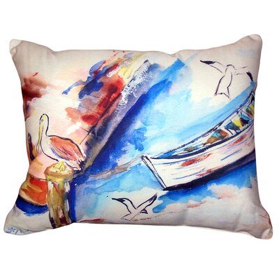 Onika Rowboat and Birds No Cord Outdoor Lumbar Pillow