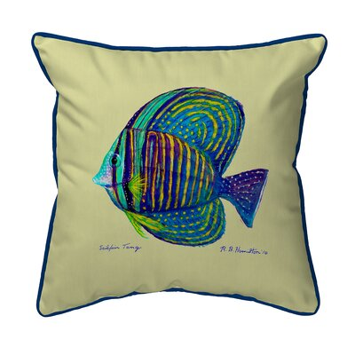 Sailfin Tang Indoor/Outdoor Throw Pillow Size: 22 H x 22 W, Color: Yellow