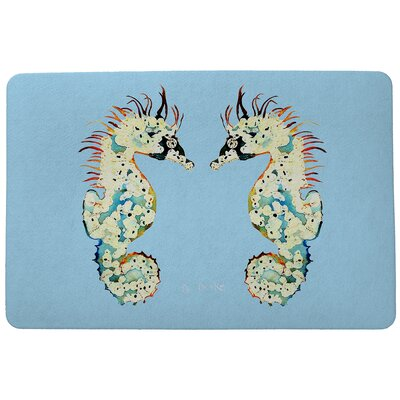Coastal Sea Horses Doormat Size: Rectangle 18 x 26