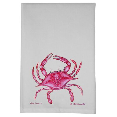 Coastal Crab Hand Towel (Set of 2) Color: Pink