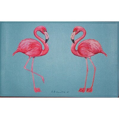 Coastal Flamingo Doormat Size: 18 H x 26 W