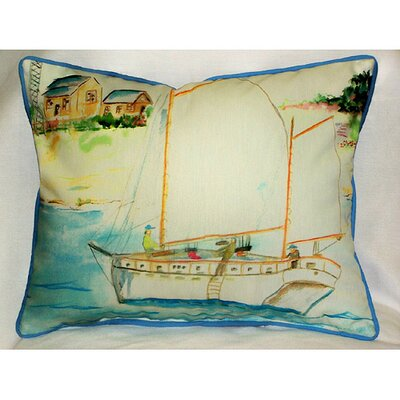 Coastal Two Masted Boat Indoor/Outdoor Lumbar Pillow
