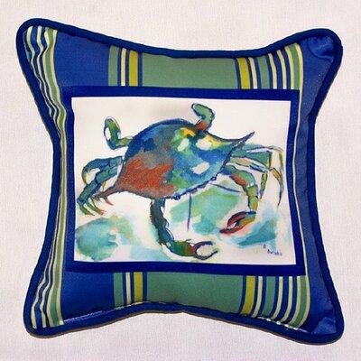 Coastal Stripe Crab Indoor/Outdoor Throw Pillow