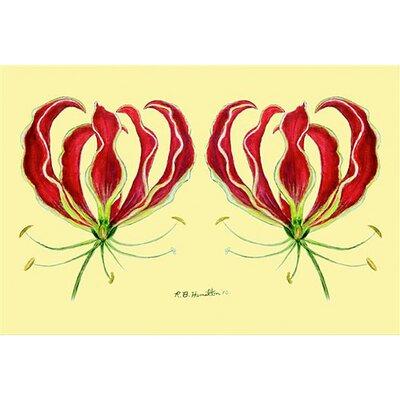 Garden Red Lily Doormat Size: 30 H x 50 W