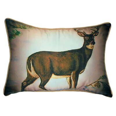 Lodge Deer in Snow Indoor/Outdoor Lumbar Pillow